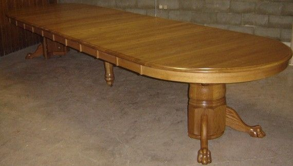Handmade new solid oak wood round large dining room for Solid wood round dining table with leaf