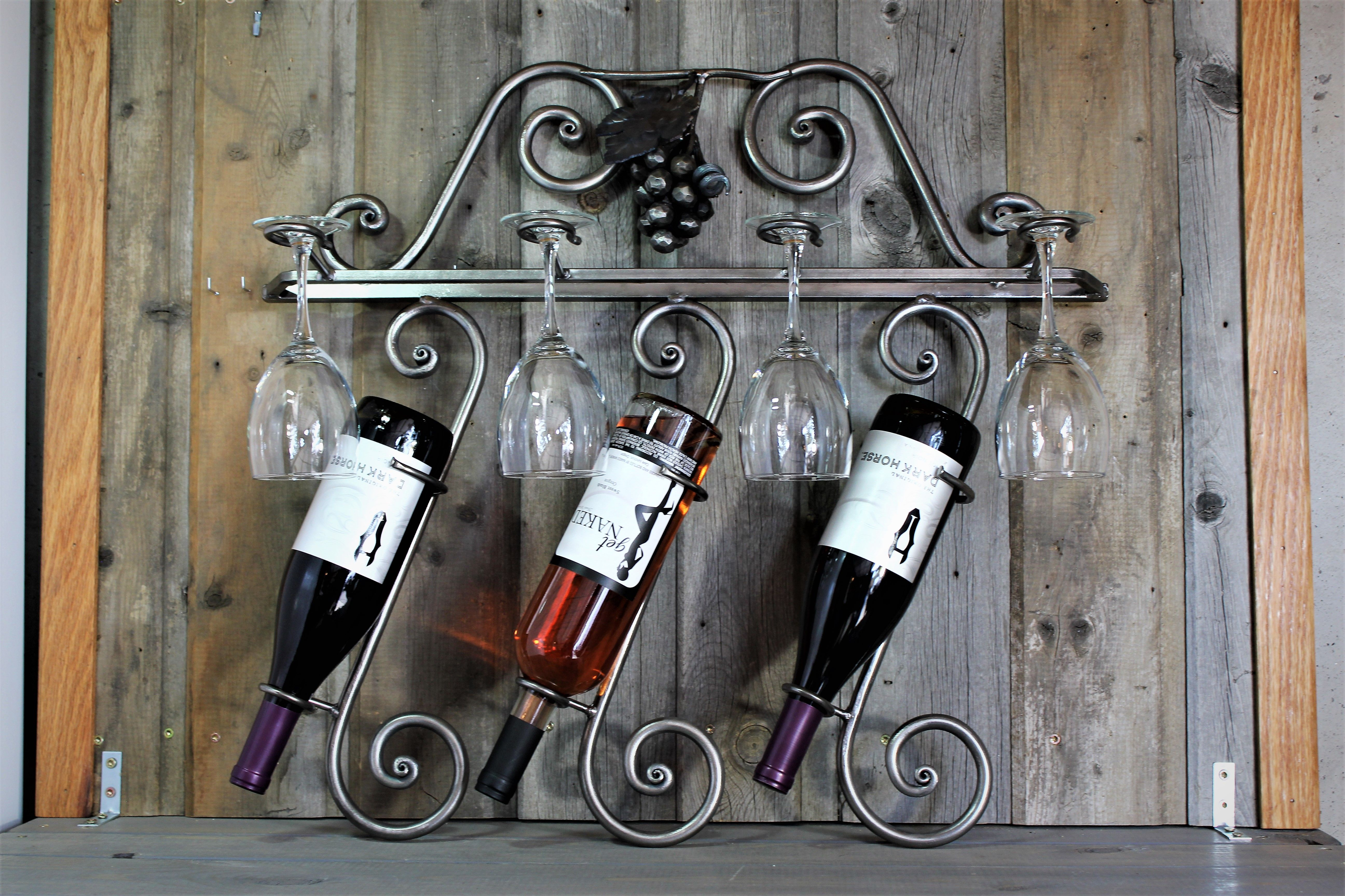Buy A Custom Made 3 Bottle 4 Glass Wall Mount Wine Rack Made To