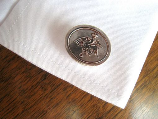 Custom Made Custom Sterling Silver Cufflinks Heraldic Dragon Coat Of Arms From City Of Siena, Italy