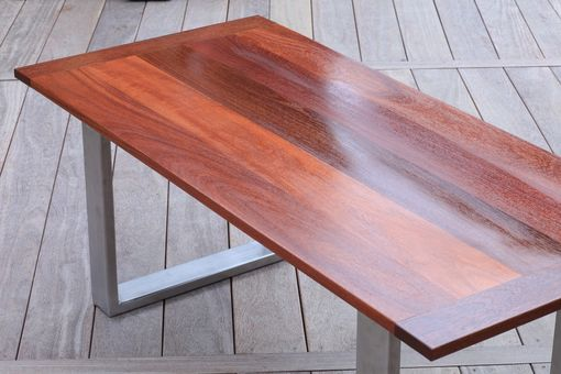 Custom Made Salem Outdoor Table - Stainless Steel And Brazilian Teak
