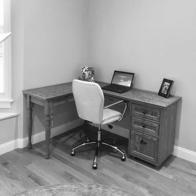 Custom Made Oak Corner Desk
