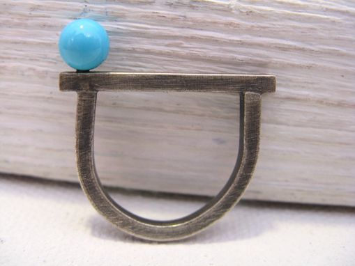 Custom Made Modern Turquoise And Sterling Ring