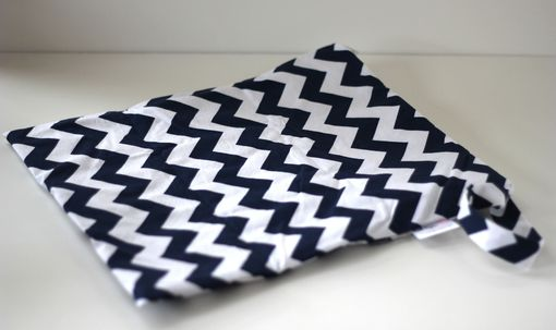Custom Made Large Lay Flat Messy Bags (Wet Bags) - Navy Chevrons