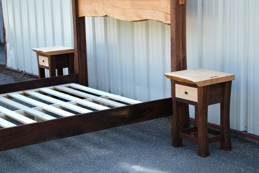 Hand Crafted Live Edge Maple King Size Bed With Walnut Posts And Matching Night Stands By Corey