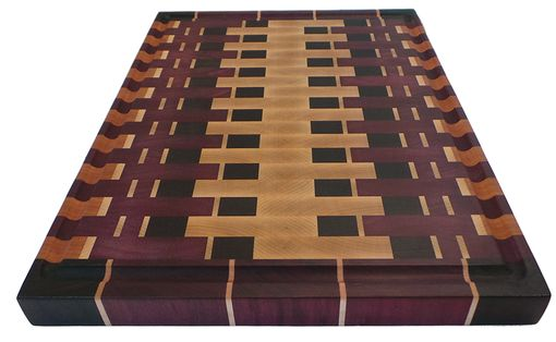 Custom Made Abstract - End Grain Exotic Wood Cutting Board