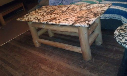 Custom Made Robin's Granite Coffee Table With Golden Douglas Fir Roundwood Base.