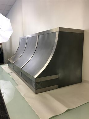Custom Made #110 Patina Zinc Range Hood With Stainless Straps