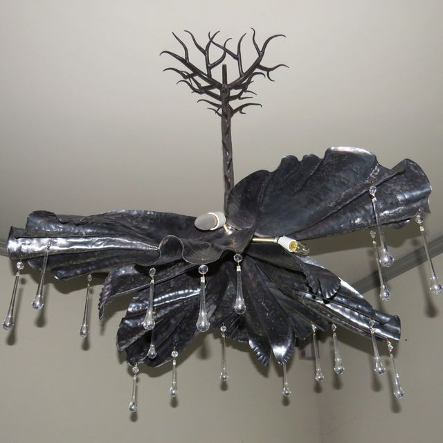 Handmade chandelier forged steel iris form by colin mcintyre custommade com