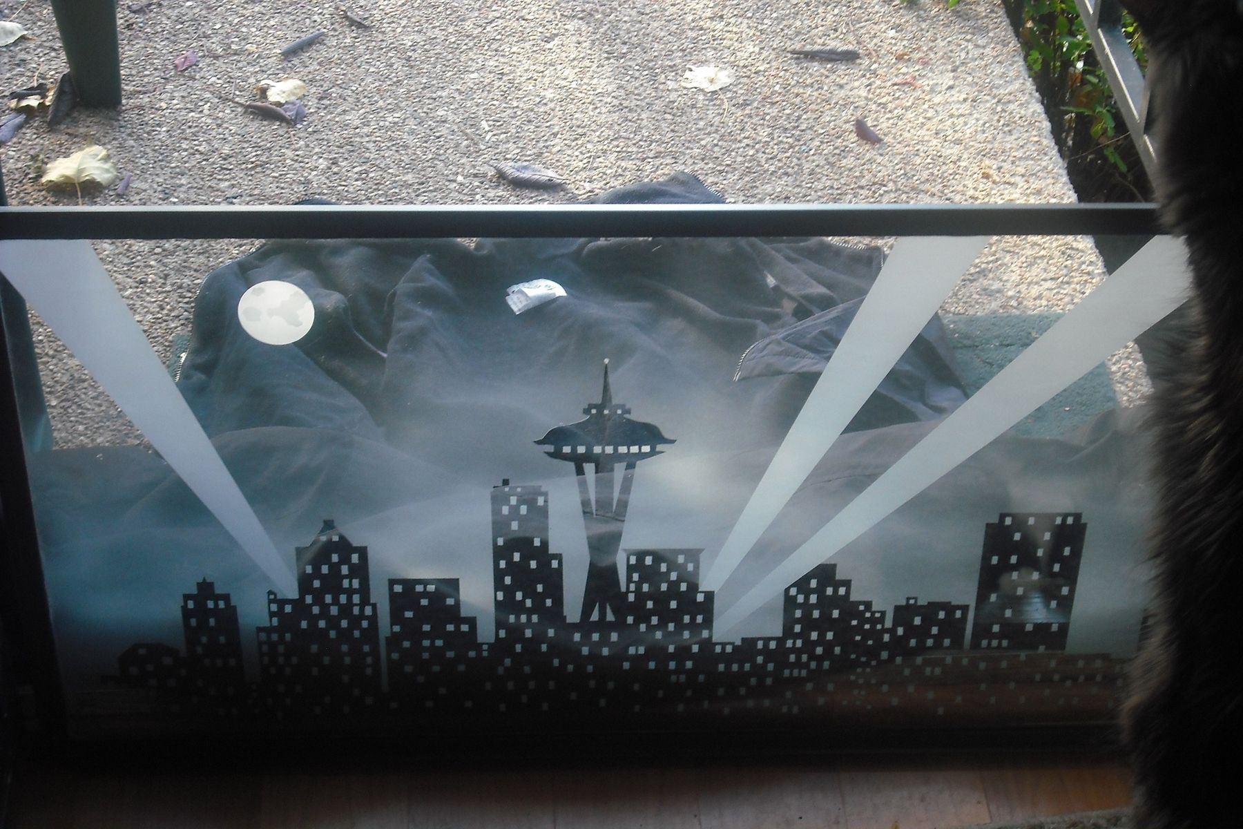 Hand Crafted Etched Glass Window Seattle Skyline By One
