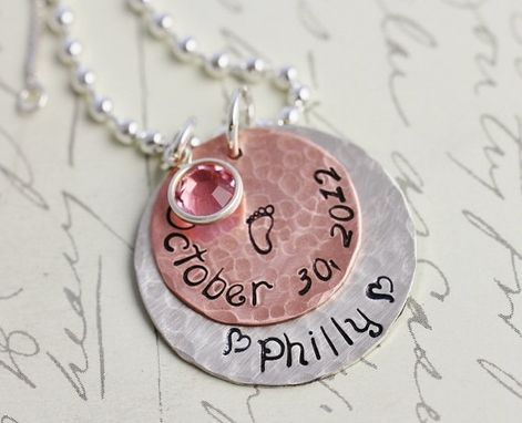 Custom Made Hand Stamped Mixed Metal Mom Necklace