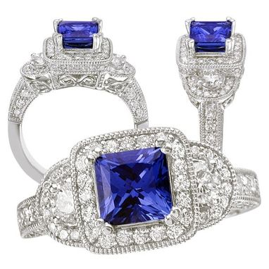 Custom Made 18k Created Princess Cut Blue Sapphire Engagement Ring With Natural Diamond Halo