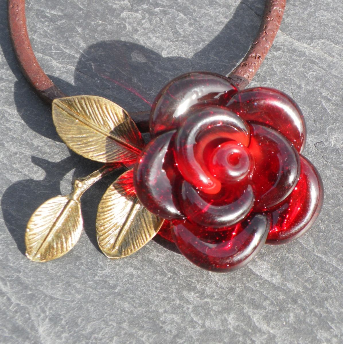 Custom made valentines jewelry red rose necklace glass pendant hand custom made valentines jewelry red rose necklace glass pendant hand blown flower leather aloadofball Images