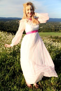 Custom Made Vintage 60s Dress Long Formal Chiffon With Flocking And Lace Sheer Bell Sleeves In White And Pink S