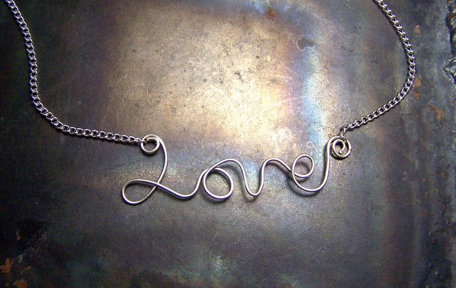 Hand crafted love necklace sterling silver word pendant with chain custom made love necklace sterling silver word pendant with chain cursive word script aloadofball Choice Image
