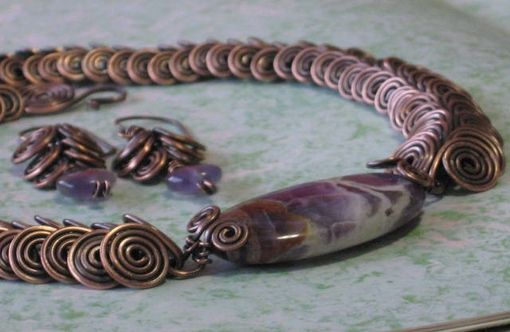 Custom Made Copper & Amethyst Necklace & Earring Set