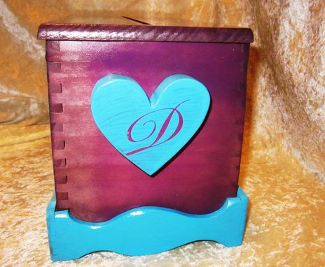 Custom Made Wedding Card Box - Customized With 2 Colors Includes Monograms Names And Date