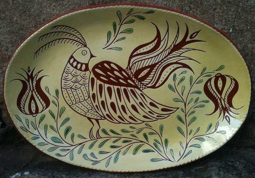 Custom Made Ceramic Plate With Bird And Tulips