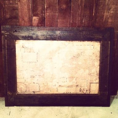 Custom Made Reclaimed Wood Picture Frame And Map