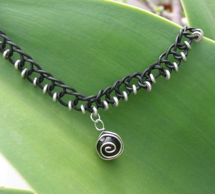 Custom Made Necklace / Choker:  Black Braided Leather Cord With Silver Beads And Spiral Pendant