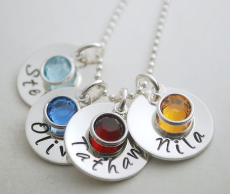 Custom Made Personalized Necklace With Children's Names Hand Stamped Sterling Silver