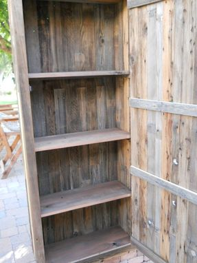 Custom Made Barnwood Closed Cabinet With Four Compartments