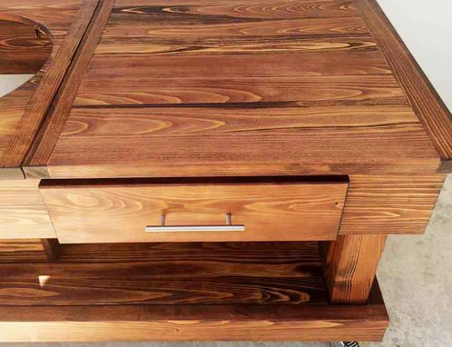 Custom Made Custom Solid Cypress Work Tables With Drawer & Cut Out Option For All Model Green Egg Grills