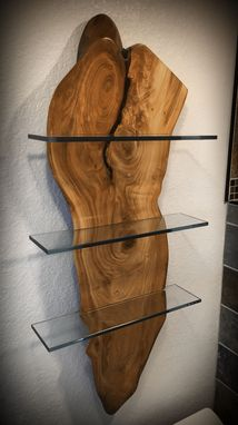 Custom Made Live Edge Wood With Glass Shelves