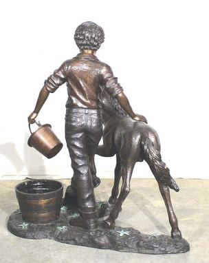 Custom Made Boy With Pony Bronze Fountain