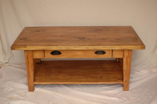Custom Made Reclaimed Heart Pine Coffee Table With Drawer And Shelf