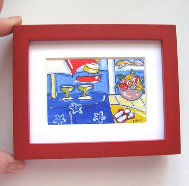 Custom Made Margarita Acrylic Painting Original Miniature, Beach Cottage Decor