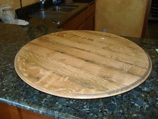 Custom Made Wine Barrel End Lazy Susan