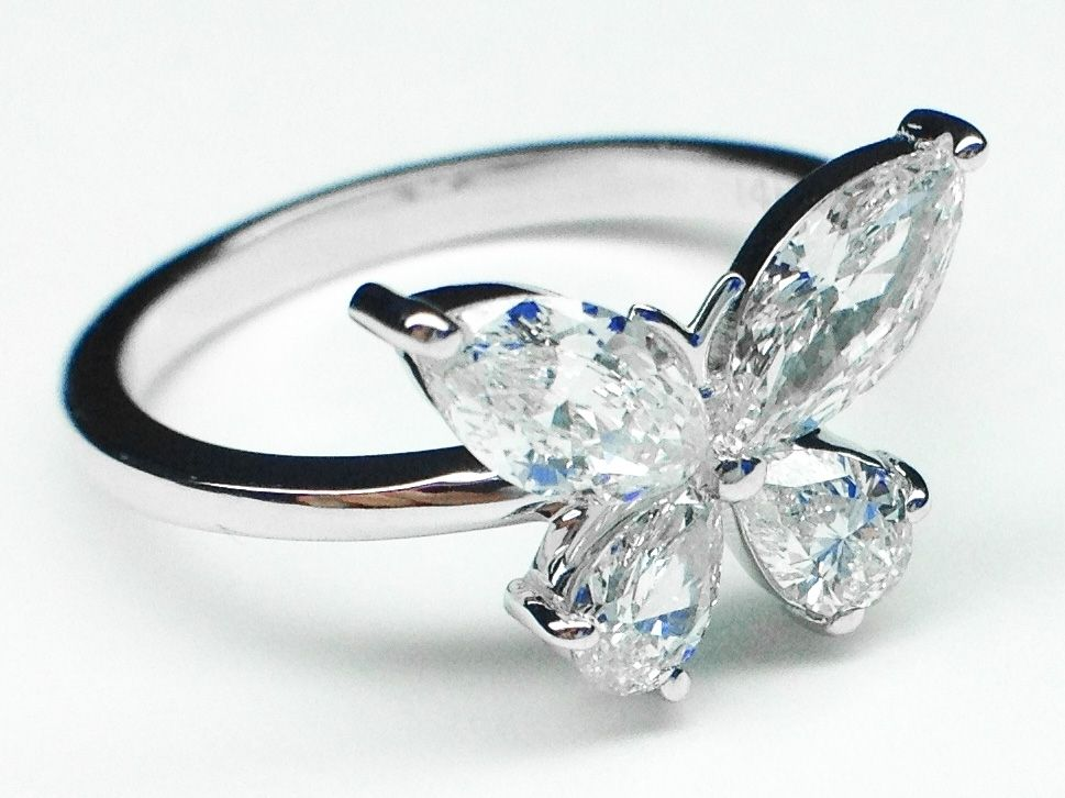 custom made mixed cut butterfly diamond ring 1 carat total weight in 14k white gold - Butterfly Wedding Rings