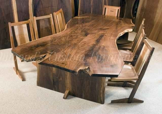 Hand crafted the welch 9 39 book matched walnut crotch slab for Dining room tables handmade