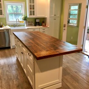 Handmade Reclaimed Kitchen Island With Open Shelving And ...