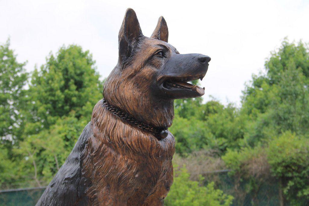 Hand Crafted Bronze German Shepherd Memorial Life Size