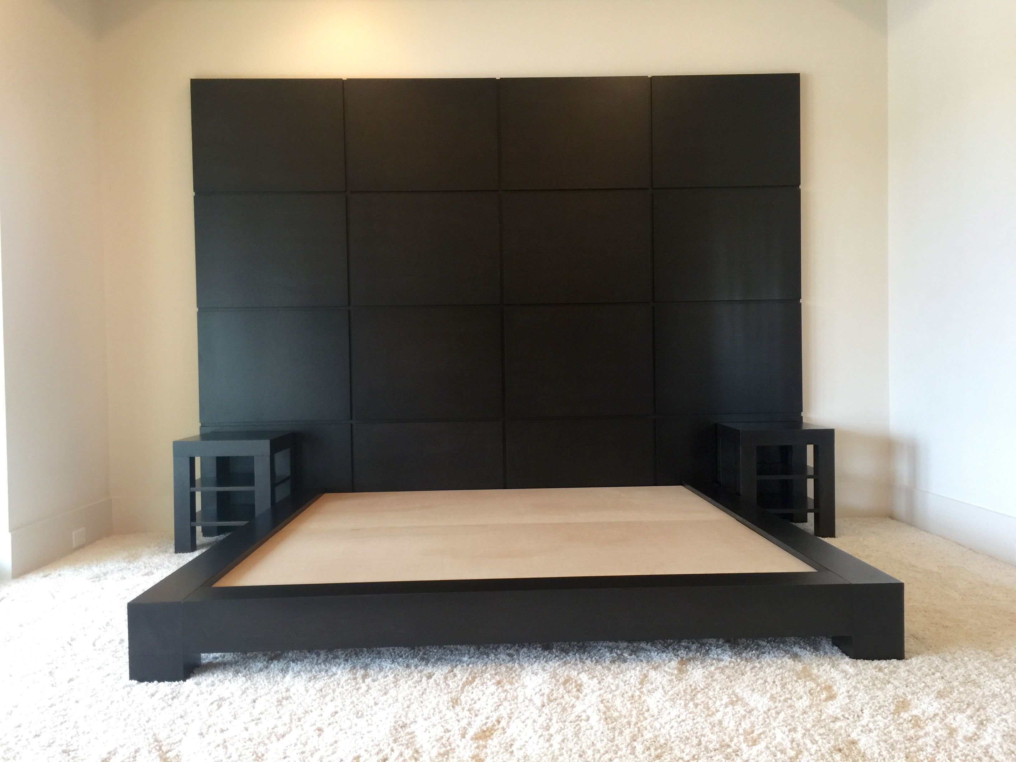 Custom Made Espresso Platform Bed With Nightstands