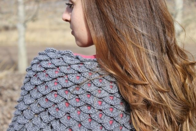 Hand Crafted Crochet Crocodile Stitch Triangle Shawl By Living In