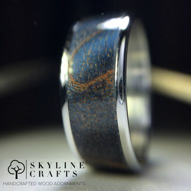 Custom Made Blue Fiddleback Maple Ring On Your Choice Of Titanium Or 316 Stainless Steel