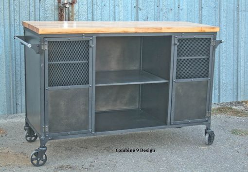 Custom Made Vintage Industrial Bar Cart / Kitchen Island. Mid Century , Reclaimed Wood Avail. Liquor Cabinet.