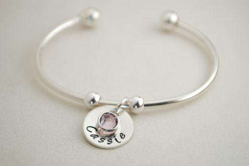 Custom Made Sterling Silver Cuff Charm Bracelet With One Custom Name Charm