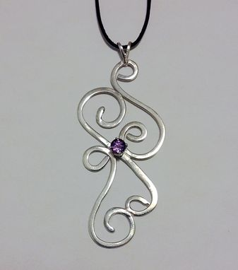 Custom Made Sterling Silver Swirls Pendant With Faceted Amethyst Gemstone