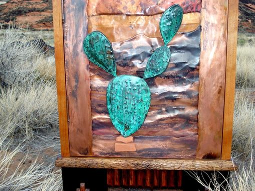 Custom Made Copper Cactus Cabinet