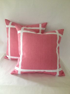 Custom Made Pink Heavy Linen Pillow Cover With Ribbon Embellishment
