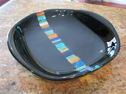 Custom Made Dichroic Inset Fused Glass Black Bowl