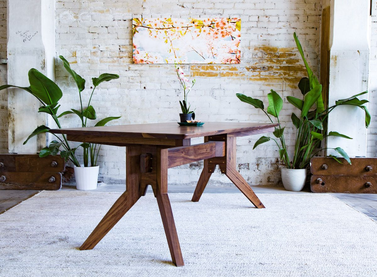 Custom made the zoe solid walnut modern dining table