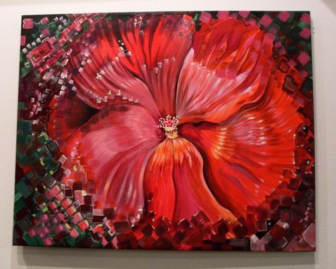 Custom Made Pixelated Hibiscus Painting Floral Commission