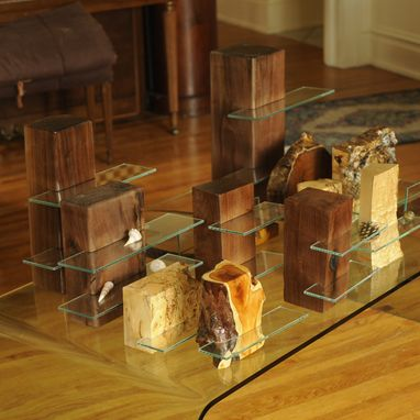 Custom Made Table Top Glass Shelving Units