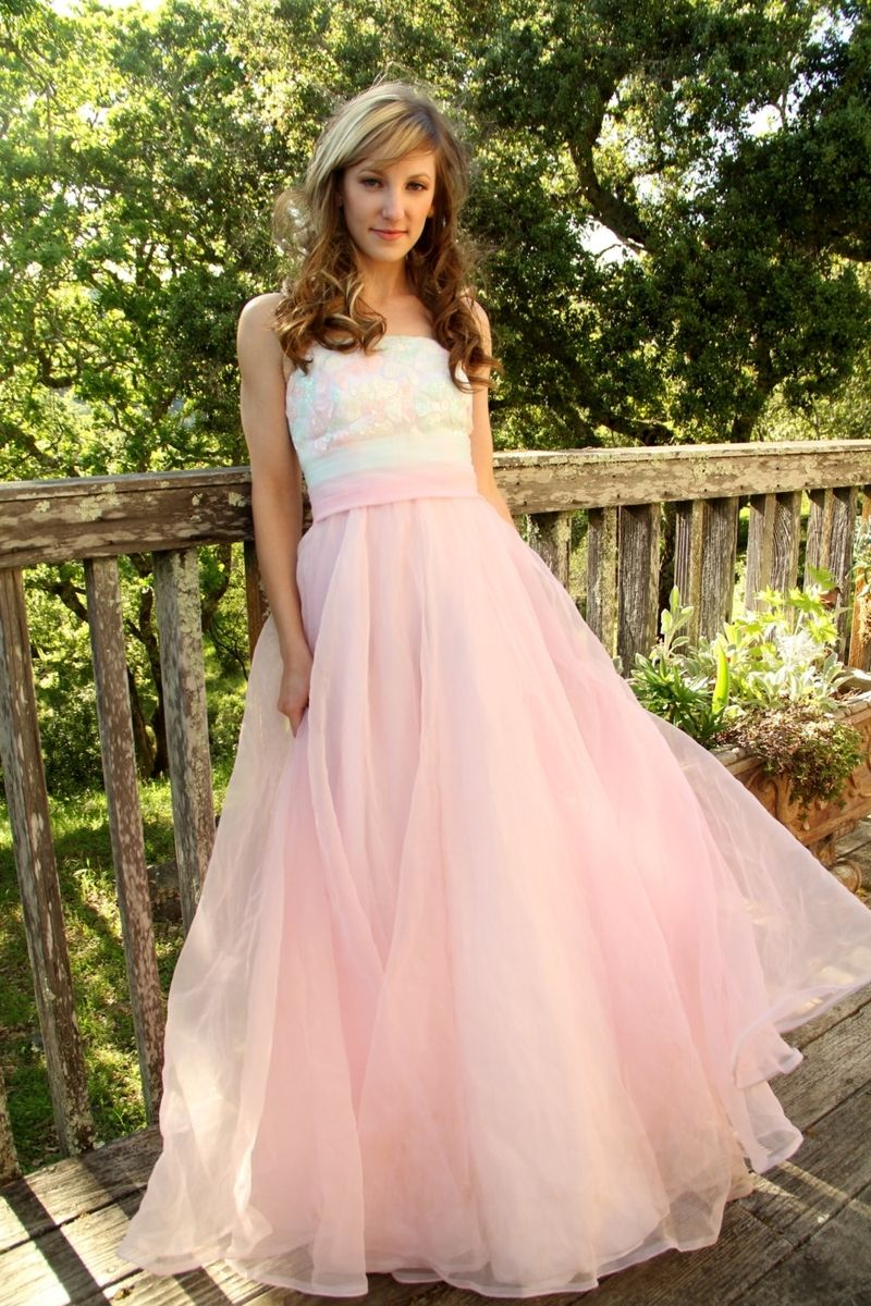 Custom Made Vintage 60s Formal Prom Party Dress In Pastel Pink And ...
