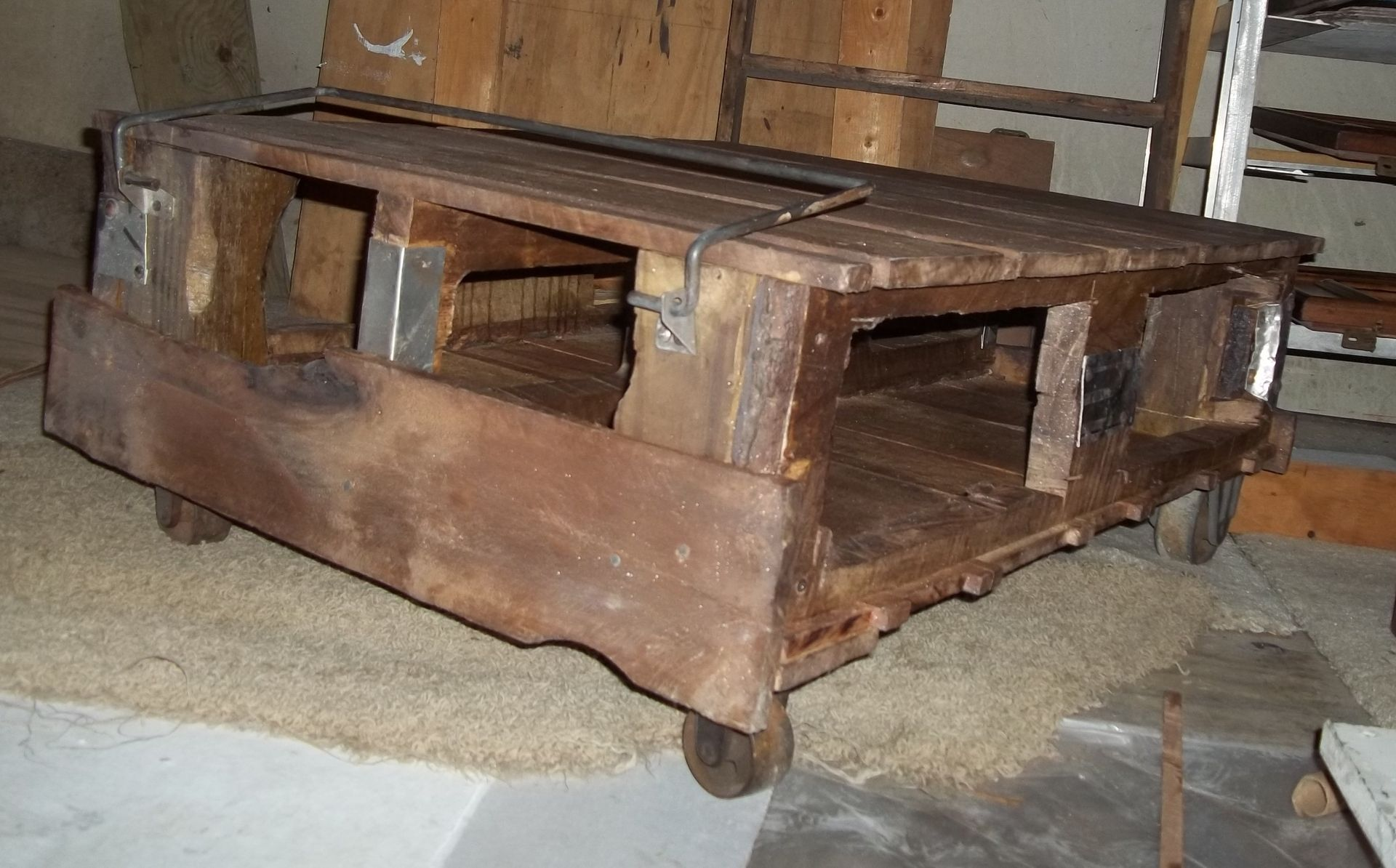 Custom industrial cart coffee table by more than murals custom made industrial cart coffee table geotapseo Images
