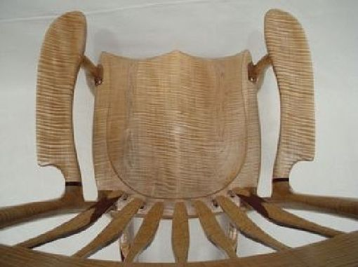 Custom Made Tiger Maple Rocking Chair With Purple Heart And Birdseye Maple Accents